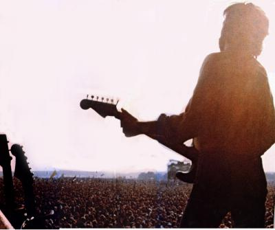 Clapton on stage....I'm over there on the right - just behind his bottom!!