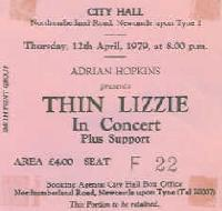Thin Lizzy ticket 20/6/78